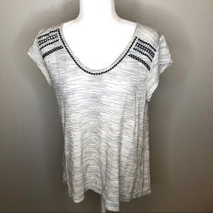 Loft embroidered blouse size M gray/white